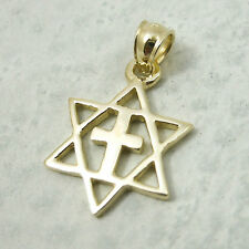 Solid 10K Yellow Gold Messianic Star of David Cross Pendant, 1.5 grams, Jewish
