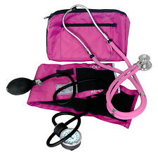 DIXIE EMS PROFESSIONAL BLOOD PRESSURE KIT W/ SPRAGUE STETHOSCOPE PINK