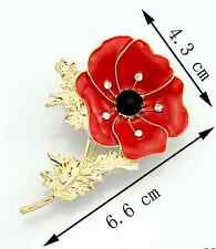 Stylish Party Gift Crystal Gold Flower Unique Red Poppy Banquet Badge Brooch Pin