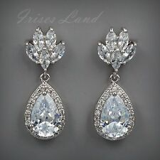 White Gold Plated Cubic Zirconia CZ Wedding Bridal Drop Dangle earrings 8528 New