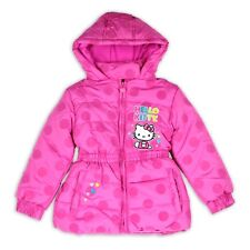 NEW☀ HELLO KITTY PUFFER JACKET COAT TOP Girls 12 HOT PINK DOTS $75 RV