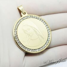 MEN WOMEN Stainless Steel Gold Virgin Mary CZ Stone Pendant*P45