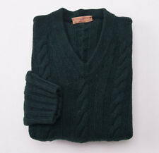NWT $1195 LUCIANO BARBERA Dark Green Heavy Cableknit Cashmere Sweater 50/M