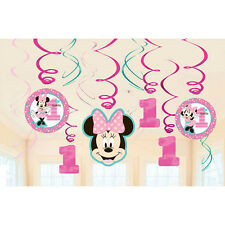 12 Disney Minnie Mouse 1st Birthday Party Dangling Cutout Swirl Decorations
