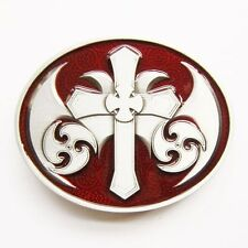 CELTIC CROSS IRISH RED MEDIEVAL GOTHIC BELT BUCKLE
