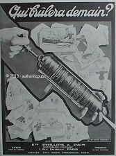 PUBLICITE PYRENE EXTINCTEUR D'INCENDIE PHILLIPS & PAIN DE 1929 FRENCH AD PUB