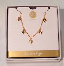 Gorjana For Bloomingdales Live Love Layer Gold Tone Charm Necklace New in Box