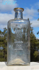 RARE 7 1/4 inch SIZE old OWL DRUG bottle w/ KILLER pic OWL! - 12 OUNCE