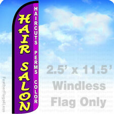 11.5' WINDLESS Swooper Feather Flag Sign - HAIR SALON HAIRCUTS PERMS COLOR pz
