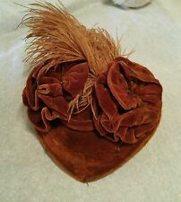 ANTIQUE VELVET / SILK VICTORIAN HAT FOR ANTIQUE BISQUE GERMAN OR FRENCH DOLL