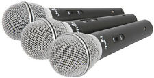 SET OF 3 DYNAMIC MICROPHONES & CLIPS WITH CASE + 3 XLR TO JACK LEADS DJ KARAOKE
