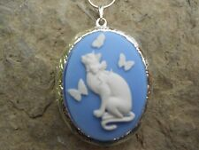 (LOCKET)--CAT AND BUTTERFLIES CAMEO LOCKET- .925 SILVER PLATED--QUALITY!!!