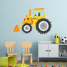 YELLOW TRACTOR PERSONALISED CHILDREN'S BEDROOM PLAYROOM WALL STICKER DECAL VINYL