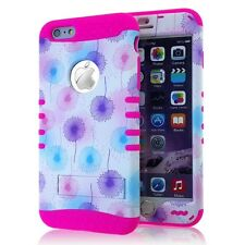 for iPhone 6 6s Cute Flower Hot Pink Rubber Hybrid Protective Koolkase Skin Case