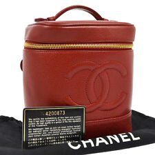 Authentic CHANEL CC Logos Cosmetic Hand Bag Red Caviar Leather Vintage G02374