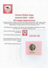 HORACE COPE ARSENAL 1926-1933 EXTREMELY RARE ORIGINAL SIGNED CUTTING & MAG PIC