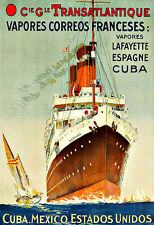 Art Ad Transatlantique  Espagne Cuba Spain Mexico ship Liner Travel Poster Print