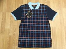 MENS MERC LONDON CHECK VINTAGE COTTON POLO SHIRT IN NAVY BLUE SIZE S
