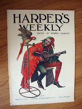Harper's Weekly Magazine March 29 1913 Cover Art  Indian Twin Motocycle Model 7