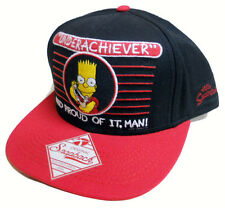 NEW mens BART SIMPSONS underachiever proud of it BLACK AND RED snapback CAP HAT