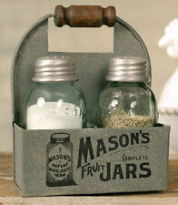 Rustic Mason Fruit Jar Tin Box with S & P Shakers Barn Roof Gray Wooden Handle