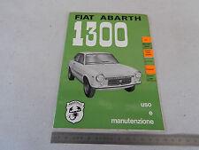 MANUALE USO MANUTENZIONE ORIGINALE ABARTH 850 1300 COUPE' 1967