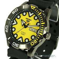 SEIKO 5 SPORTS AUTO ION BLACK STAINLESS STEEL DIVERS STYLE YELLOW FACE SRPA11K1