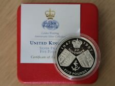 1997 Golden Wedding £5 Five Pound Silver Proof Coin Box Coa X19