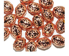 Embossed Floral Fleur Oval 15mm Bright Copper Metalized Metallic Beads