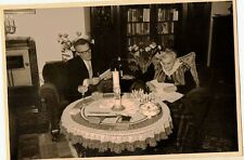 Old Antique Vintage Photograph Man and Woman Sitting At Retro Dining Room Table