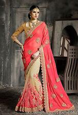 Bollywood Indian Party Wear Saree Sari Wedding Pakistani Saree Embroidered Sari