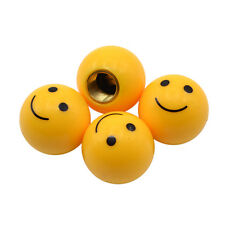 4 Pcs Smail Face Ball Car Truck Bike Tire Air Valve Stem Caps Wheel Rims Yellow