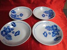 4 assiettes creuses calottes faïence MOULIN DES LOUPS décor FLEURS BLEUES