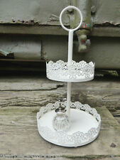 PRETTY CREAM METAL JEWELLERY DISPLAY STAND 2 TIER LACE NAIL VARNISH HOLDER