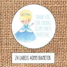 Princess Party bag stickers 24 thank you  coming sweet cone birthday Cinderella