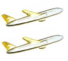 2 tie clips LOT clasps pins bar airplane aeroplane plane airliner