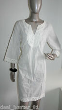 White Cotton Top Tunic L/14/42 with waist belt + Lace Boho Natrual fabric  OPR2