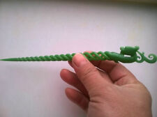 China Hand Carving green jade phoenix hairpin NR
