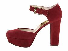 9M MICHAEL KORS HAVEN ANKLE STRAP CINNABAR RED WOMEN PLATFORM HEELS SUEDE SHOES