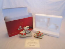 Lenox Peanuts Figurine Snowmobiling with Snoopy Christmas in box gold sled broke