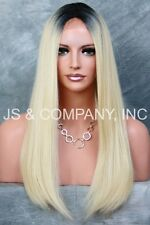 Lace Front Wig HEAT SAFE Blonde with Root Long silky Straight  THL 1b88