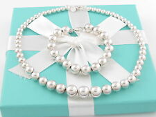 Tiffany & Co Silver Graduated Bead Necklace Bead Bracelet Set Box Pouch Card