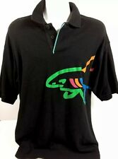 Vtg 90s Greg Norman Big Shark Logo Polo Golf Rugby Shirt Black Mens Size Large