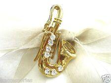 18KGP Saxophone Swarovski Element Austrian Crystal Rhinestone Brooch Pin