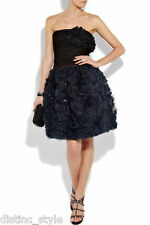 R'11 ICONIC GORGE 2DIE4 RARE Oscar De La Renta organza blue/black cocktail dress