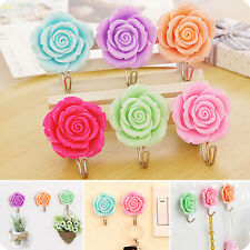 2X Rose Flower Self Adhesive Towel Door Coat Wall Hanger Sticky Holder Key Hook