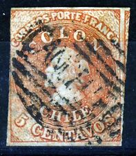 CHILE 1857-1865 5c. COLON ESTANCOS SANTIAGO Print Chile #9 Scott #9 SG 18 Wm 4