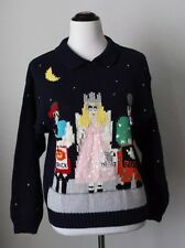 Belle Pointe Halloween Sweater Women's Size S Small Navy Blue Pirate Princess