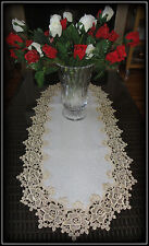 """Rose Lace Table Runner Dresser Scarf 35"""" Soft Gold / Beige White Doily"""