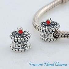 BIRTHDAY CAKE w RED ENAMEL CANDLE 925 Sterling Silver EUROPEAN Spacer Bead Charm